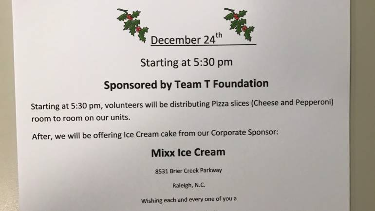 Christmas Eve Pizza and Ice Cream Cake Party